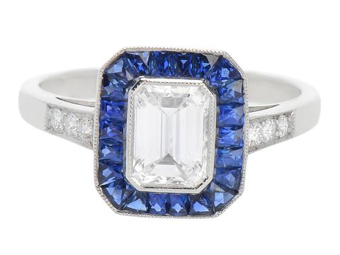 Diamond Sapphire Platinum Ring