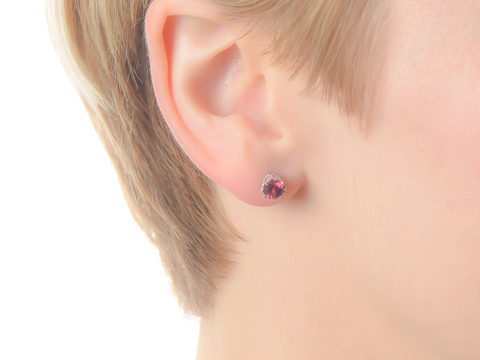 Garnet Diamond Stud Earrings