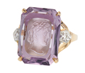 Classical Muse - Amethyst Intaglio Carved Ring