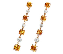 Rare Natural Orange Diamond Drop Earrings