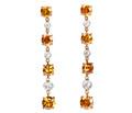 Orange Fire - Diamond Drop Earrings
