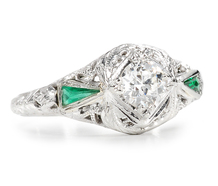 Art Deco Diamond Emerald Ring