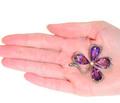 Lucky Day - Amethyst Four Leaf Clover Brooch