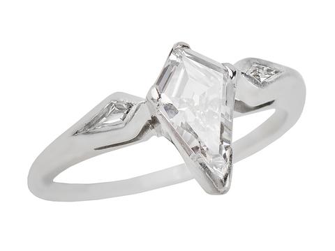 "Fancy Cut Kite Shaped Diamond Ring ""D"" Color"