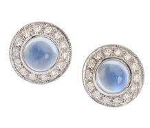 Platinum Moonstone Diamond Halo Earrings