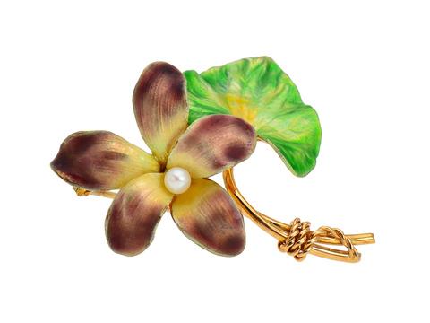0db94da4876 Krementz Rules - Enamel Flower Brooch