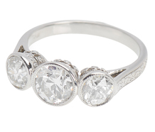 Three Diamond Platinum Ring