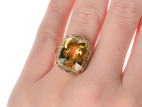 Vintage Citrine Ring of Yellow White Gold