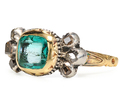Rare 17th C. Enamel Emerald & Diamond Ring