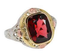 Three Shades of Gold Garnet Filigree Ring