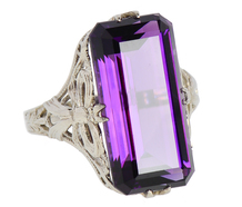 Step Cut Amethyst in a Vintage Filigree Ring