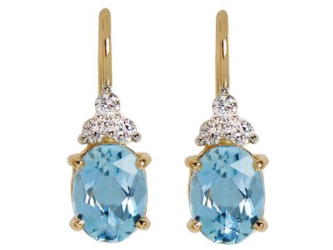 Elegance in Aquamarines & Diamonds Estate Earrings