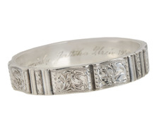 With Memories - Fancy Silver Bangle Bracelet