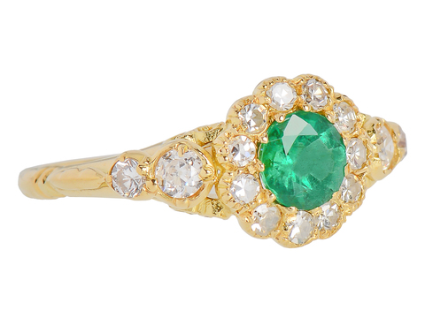 Vintage English Emerald Diamond  Ring
