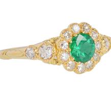 Vintage English Emerald Diamond  Ring