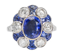 The Ritz - Diamond Sapphire White Gold Ring