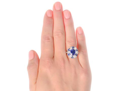 The Ritz - Diamond Sapphire White Gold Ring