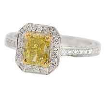 Black Starr & Frost Yellow Diamond Peregrina Ring