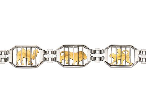 Vintage Sterling Zoo Train Animal Bracelet