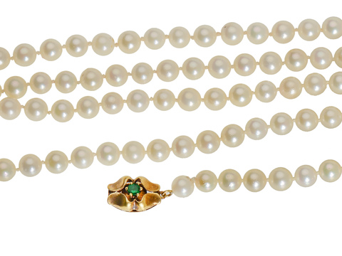 Deservedly So - Pearls with Emerald Clasp
