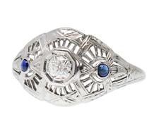 Vintage Diamond Sapphire Filigree Ring