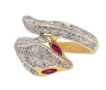 Eternity - Ruby Diamond Snake Crossover Ring