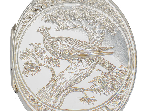 Victorian Silver Locket Pendant with Bird