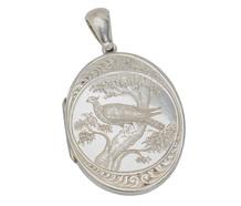 Victorian Silver Locket Pendant with Bird