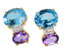 Blue Topaz & Amethyst Diamond Earrings