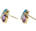 Blue Topaz & Amethyst Diamond Earrings