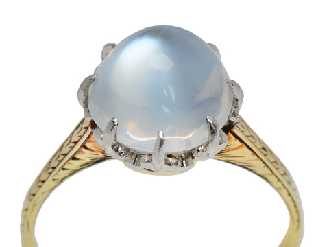High Dome Blue Moonstone Solitaire Ring