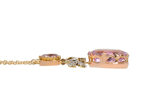 Edwardian Pink Topaz Diamond Necklace