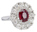 Burmese Ruby Diamond Halo Ring
