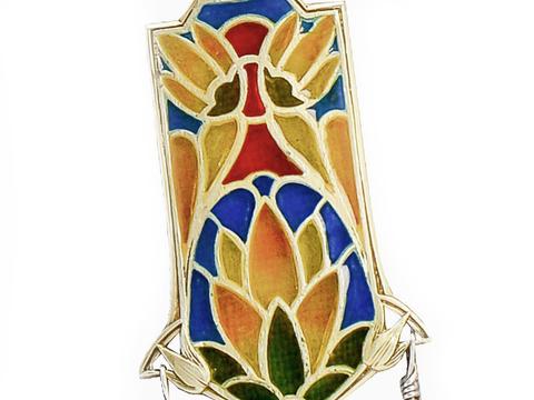 Art Nouveau Plique a Jour Enamel Pendant
