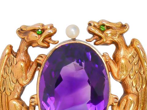 Dragon Feast - Krementz Amethyst Brooch