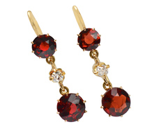 Splash of Wine - Garnet Diamond Earrings