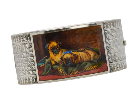 Victorian Art - Bangle Enamel Painting of Pugs
