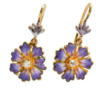 Rites of Spring - Art Nouveau Enamel Flower Earrings