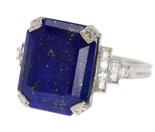 Dancing Steps - Art Deco Lapis Diamond Ring