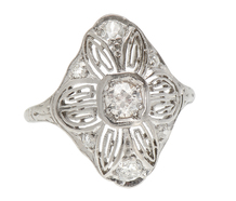 Lace Flower - Diamond Platinum Vintage Ring