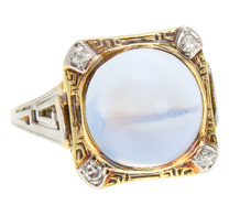 Over the Moon - Vintage Moonstone Diamond Ring