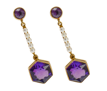 Art Deco Amethyst Pearl Dangle Earrings