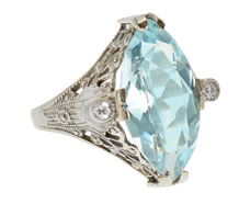 Feminine Marquise Aquamarine Diamond Ring