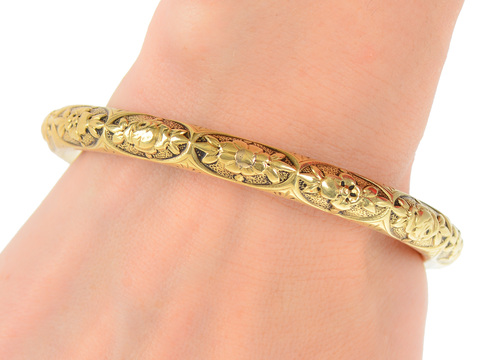 Edwardian Antique 1920s Gold Bangle Bracelet