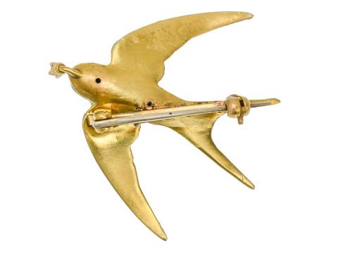 Antique Diamond Enamel Bird Brooch
