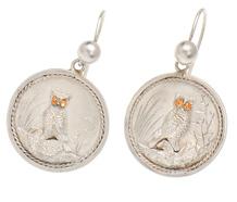 Japanese Inspired Victorian Owl Bird Earrings