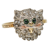 Victorian Meow - Diamond Set Cat Ring