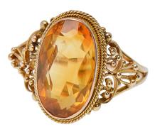 Ornate Vintage Edwardian Citrine Ring