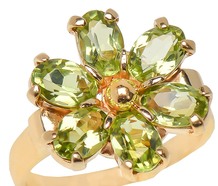 Hint of Spring - Peridot Cluster Ring