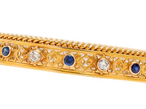 Edwardian Diamond Sapphire Gold Bangle